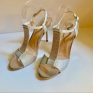 Nina Shoes - Nina Ankle T-Strap Silver Rhinestone Sandals-10